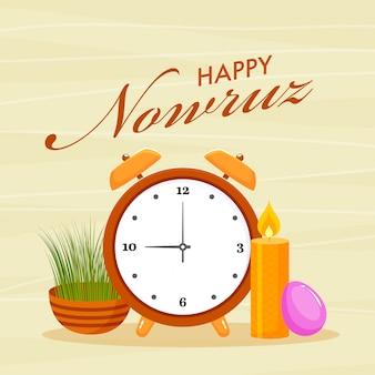 Happy nowruz font avec réveil, oeuf, bougie illuminée et sabzeh (herbe) sur fond de bande jaune.