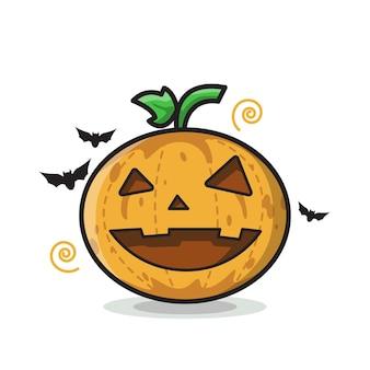 Happy pumpkin halloween illustration art ligne mignonne