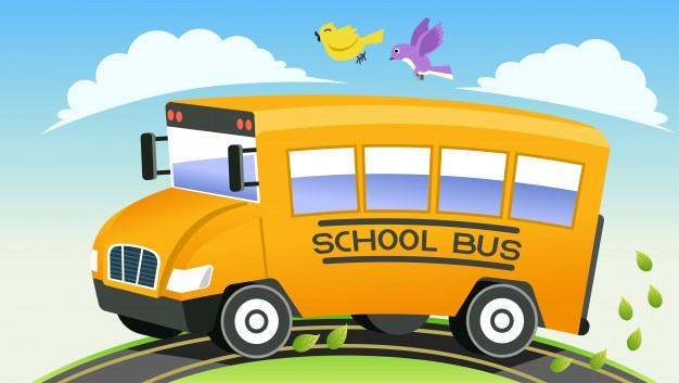 Happy retour à l'école en bus en journée fraiche.