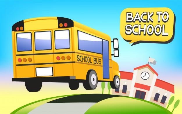 Happy retour à l'école en bus et un nouveau semestre.