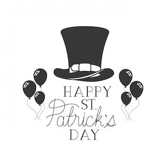 Happy saint patricks day label avec icônes de ballons