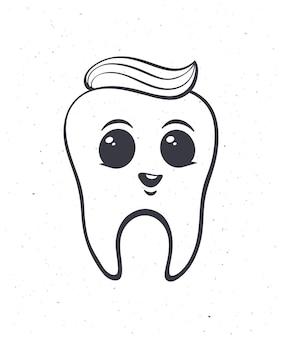 Happy smiling baby dent humaine en bonne santé avec les yeux et le dentifrice contour vector illustration
