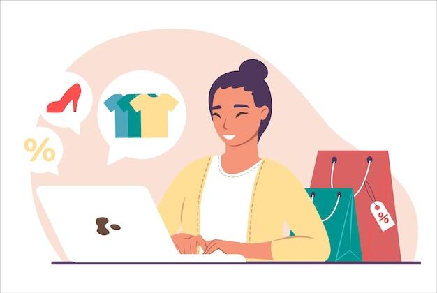 Happy smiling girl shopping pour vêtements, chaussures sur internet à l'aide d'un ordinateur portable, illustration vectorielle à plat. boutique en ligne, e-commerce, commande en ligne et livraison.