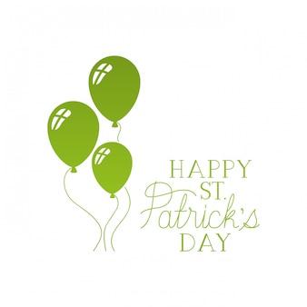 Happy st patrick`s day label avec ballons