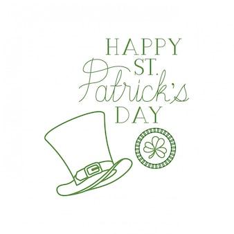 Happy st patrick`s day label avec des icônes de chapeau de trèfle et elf