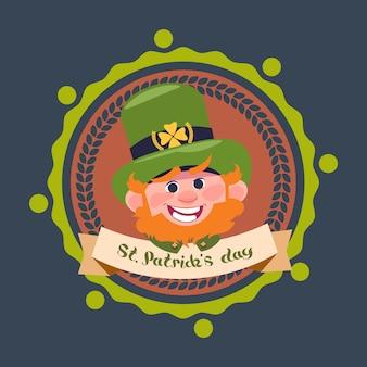 Happy st. patricks day décoration étiquette avec lutin mignon dans le chapeau vert