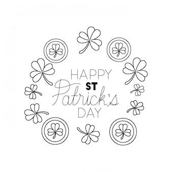 Happy st patricks day label avec icône isolé de trèfle