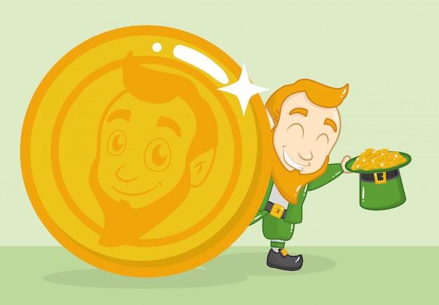 Happy st patricks day, leprechaun avec de l'argent