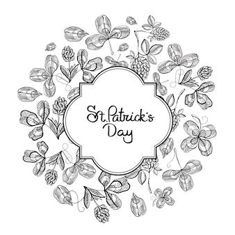 Happy st patricks day naturel avec inscription dans le trèfle de croquis de cadre et illustration vectorielle de trèfle à quatre feuilles