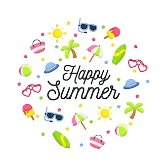Happy summer greeting with composition d'éléments