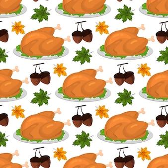 Happy thanksgiving celebration design cartoon automne salutation saison des récoltes vacances transparente motif de fond illustration vectorielle. dîner de cuisine traditionnelle grâce à l'affiche de saison.