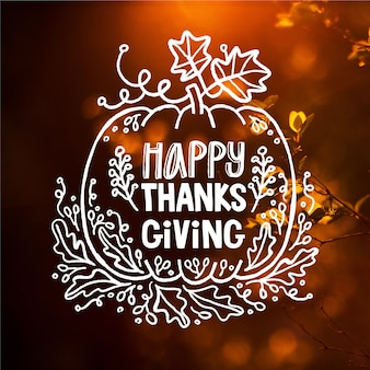 Happy thanksgiving lettrage sur fond d'écran flou