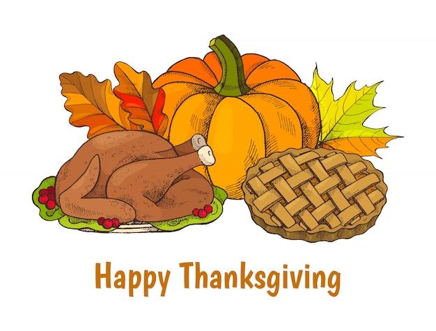 Happy thanksgiving poster avec ensemble de repas