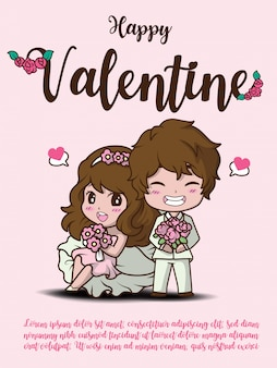 Happy valentine card., cute girl and boy holding rose.