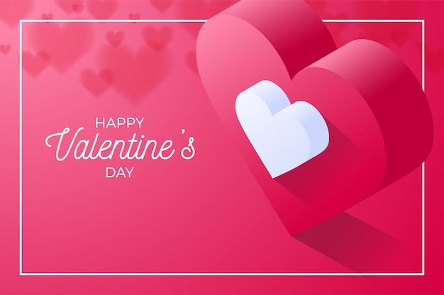 Happy valentine day coeur d'amour rouge. isométrique du vecteur coeur amour rouge