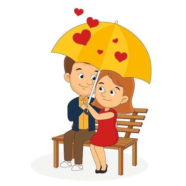 Happy valentine day, couple amoureux sous parapluie, à l'abri de la pluie d'amour