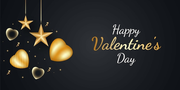Happy valentine's day background avec coeur d'or