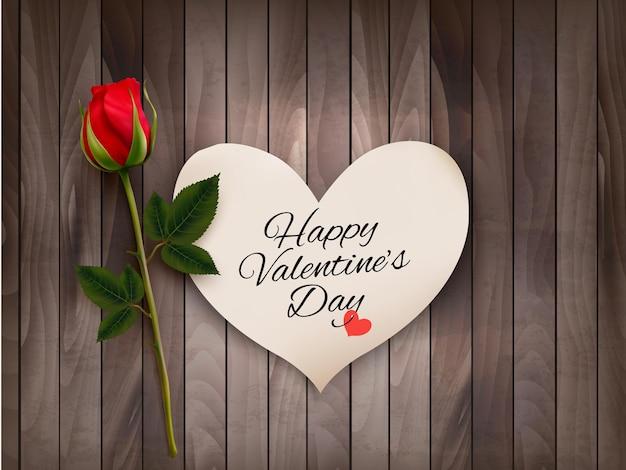 Happy valentine's day background avec une note sur un mur en bois et une rose rouge. vecteur.