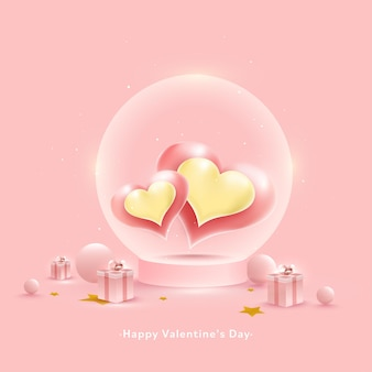 Happy valentine's day concept avec coeur brillant à l'intérieur du globe en verre, boules et coffrets cadeaux sur fond rose pastel.