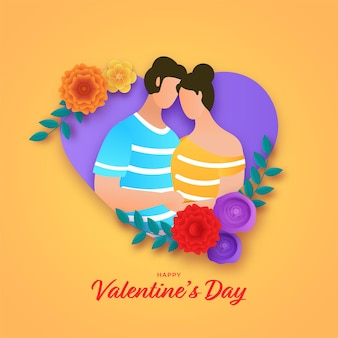 Happy valentine's day concept avec dessin animé jeune couple ensemble et fleurs colorées décorées de coeur sur fond jaune.