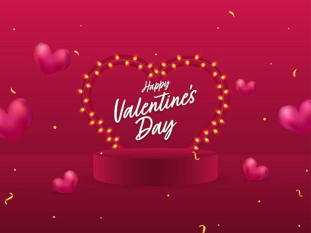 Happy valentine's day font avec guirlande d'éclairage en forme de coeur et podium sur fond rose foncé.