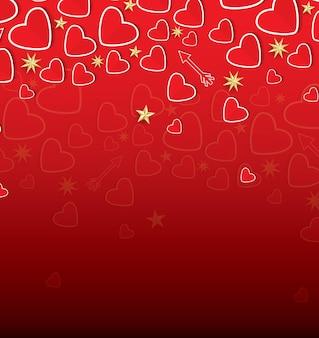 Happy valentine's day greeting card avec coeurs rouges et étoiles d'or. illustration vectorielle.