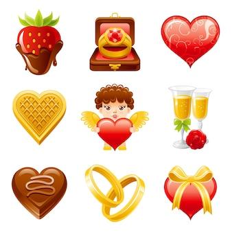 Happy valentine's day icon set illustration de dessin animé