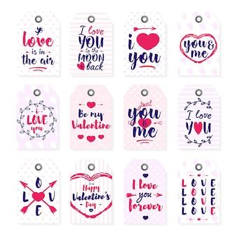 Happy valentine's day label sertie de signe de texte typographie lettrage sur fond blanc