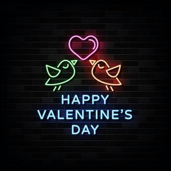 Happy valentine's day neon signs vector. modèle de conception de style néon