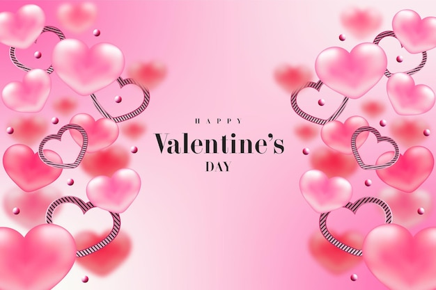 Happy valentine's day réaliste sweet heart, anneau de coeur, bannière rose ou fond