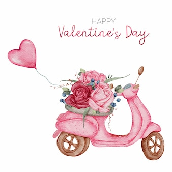 Happy valentine's day sweet card main peinture aquarelle