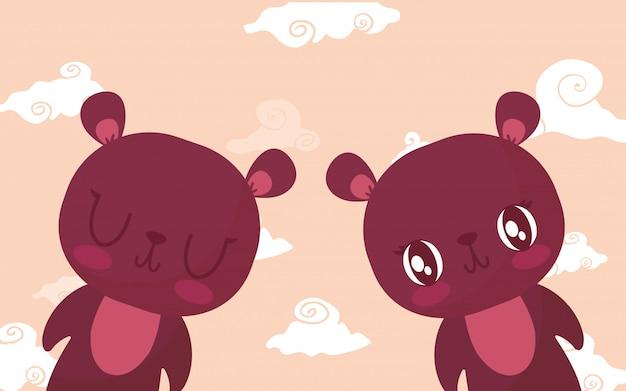 Happy valentines bear cartoons