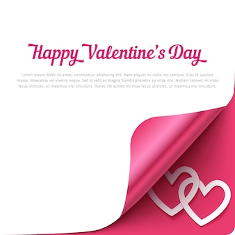 Happy valentines day background avec coin curl