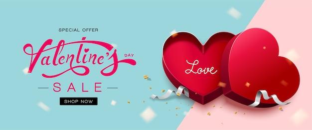 Happy valentines day avec boîte-cadeau en forme de coeur rouge