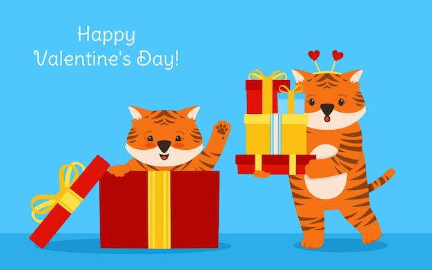 Happy valentines day card tiger gift box bande dessinée