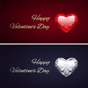 Happy valentines day cards avec des pierres précieuses