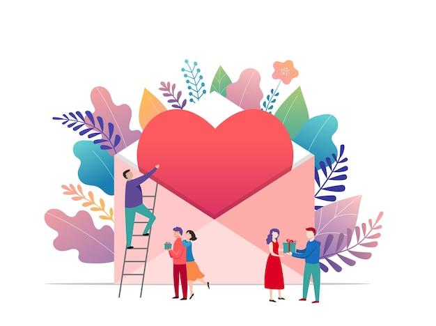 Happy valentines day, concept de lettre d'amour. grande enveloppe avec coeur rouge et petites personnes, fond romantique, modèle de bannière
