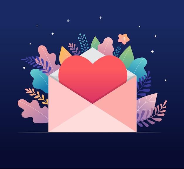 Happy valentines day, concept de lettre d'amour. grande enveloppe avec conception de bannière coeur rouge