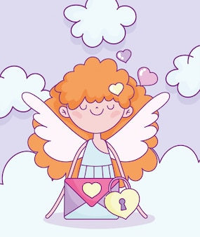 Happy valentines day, cute cupid avec enveloppe message security vector illustration