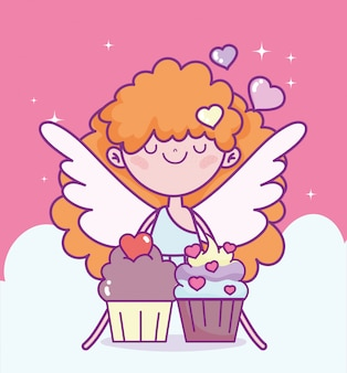 Happy valentines day, cute cupid with sweet cupcakes love cartoon vector illustration