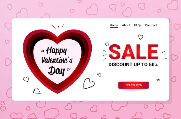Happy valentines day discount special holiday sale concept banner flyer ou carte de voeux horizontal