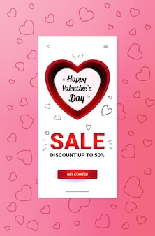 Happy valentines day discount special holiday sale concept banner flyer ou carte de voeux vertical