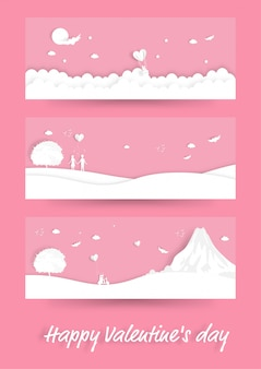 Happy valentines day, ensemble de scène d'illustration avec couple amoureux