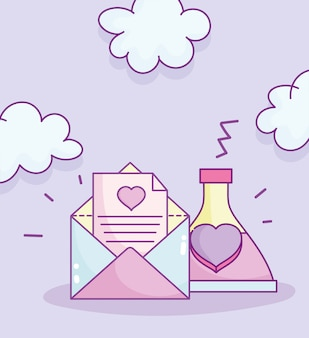 Happy valentines day, enveloppe lettre amour potion bouteille cartoon vector illustration