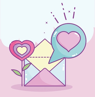 Happy valentines day, fleur forme coeur mail lettre message vector illustration