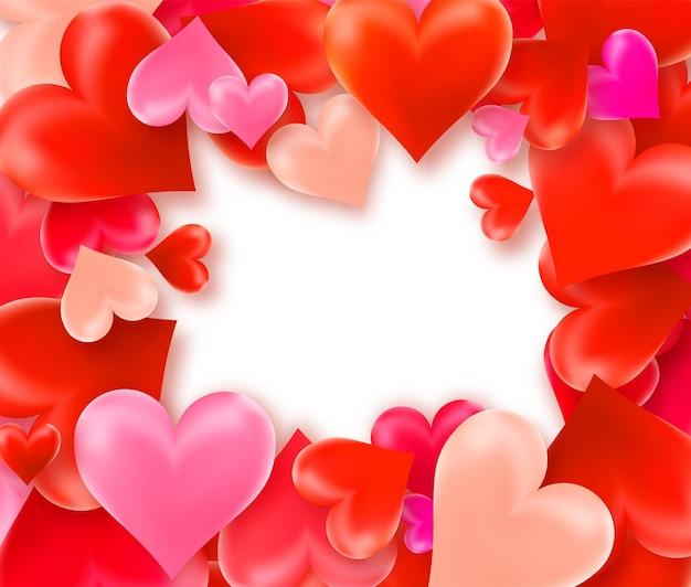 Happy valentines day fond avec cadre de coeurs colorés.