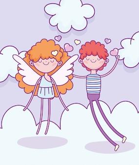 Happy valentines day, garçon avec des coeurs de cupidon mignon amour nuages vector illustration