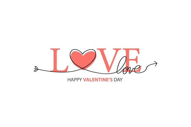 Happy valentines day lettrage isolé sur blanc