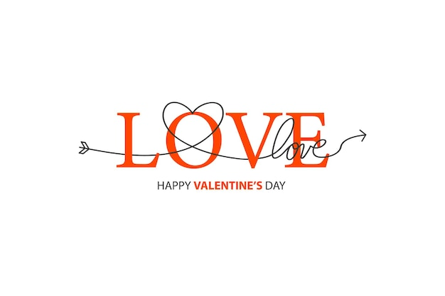 Happy valentines day lettrage isolé