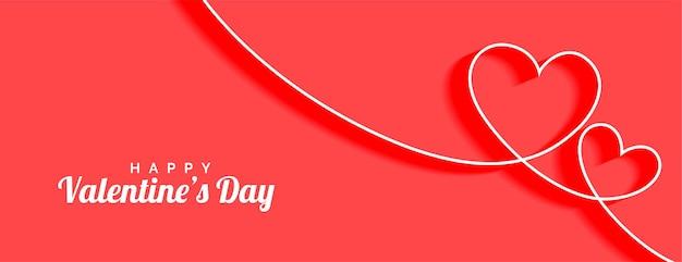 Happy valentines day line coeurs amour bannière